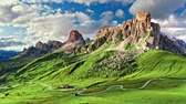 weitersagen : Aerial view of green Passo Giau, Dolomites
