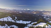 milli park : Sunrise in Tatra mountains in Poland, aerial view at winter Stok Video