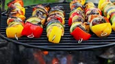 Closeup of hot skewers with meat and vegetables on grill