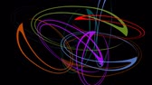 mysterious : Rotating colorful ellipse group on black background. Psychedelic movie in rainbow colors.
