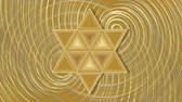 judaísmo : David star zooming rotating patterns on golden background.