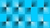 opções : Video intro with blue squares in op-art style, falling elements building checker, some of them rotating, zooming, finally forming a frame Stock Footage