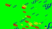 paragraf : Flying paragraphs on green screen. Multicolored paragraphs in red, blue and yellow rotating.