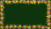 curvas : Animated video frame with small multicolored rotating stars on the border. Small flowers on dark green background, copry space, spring thema, Full HD video 1920x1080