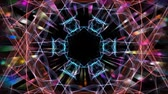 floral ornament : Red and blue fractal with multicolored psychedelic effect, blurry lights, tunnel motion, disco decoration, vivid psychedelic colors
