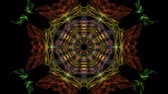 mandala pattern : Multicolored fractal in tunnel motion, abstract video in orange, red and yellow, nice symmetric shape, live fractal