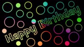 gratulace : Happy birthday outline letters inscription, color changing effect, multicolored objects on black background, outline circles, party banner, birthday celebration