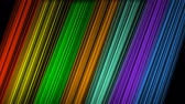 линейный : Rainbow slanted strips moving on blackg background, aimated video background, oblique color beams in vivid spectrum colors