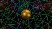 3d golden planet rotating on network on space background with nebula and stars, sci-fi video, fantasy computer animation,