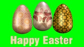 renk : Beautiful easter animation with three multicolored eggs and Happy Eastern inscription. 3D render animation on green screen. Stok Video