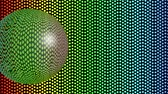 boates : Glass ball moving on rainbow dotted background, 3d animation, transparent sphere mirroring environment