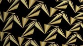 Abstract golden kaleidoscope relief patterns, triangle patterns moving on black background and building rosette