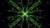 Green square mandala emitting white particles. Mandala for energy obtaining. Live fractal patterns