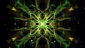 Light green symmetric fractal patterns with white flying lights. Mandala for meditation and power obtaining