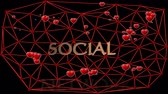 Social network animation with cute red hearts, beating in group within red mesh, voronoi mesh on black background