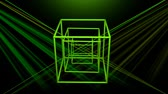 サイバー : 3d laser show with rotating wireframe cube, color changing object with colorful rays on black background, disco or nightclub decoration