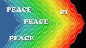hetvenes évek : Peace background, white animated words Peace appearing on wavy rainbow background. Billboard for antiwar movement.