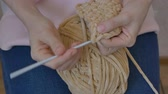 crocheting : crochet close-up with beige threads Stock Footage