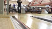 bowling : People playing a game of bowling at the small town of bowling alley in Kiev, Ukraine, 12022017 Stock Footage