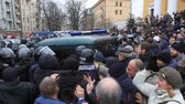 Ukraine. Kiev. December 5, 2017. people rebel against power. Collisions of people with the police. Protest against the detention of Saakashvili Stock Footage