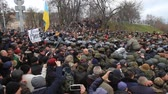 polis : Ukraine. Kiev. December 5, 2017. people rebel against power. Collisions of people with the police. Protest against the detention of Saakashvili.