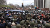 police force : Ukraine. Kiev. December 5, 2017. people rebel against power. Collisions of people with the police. Protest against the detention of Saakashvili.