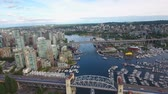 britânico : Stunning 4k aerial drone view on Vancouver modern architecture skyscraper by river downtown cityscape seascape skyline
