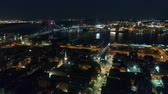 pennsylvania : Incredible drone aerial 4k panorama flyover modern Philadelphia city downtown in dark night light illumination cityscape