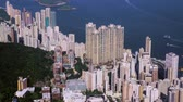 helicopter view : downtown, hong kong, filming with drone Stock Footage
