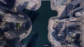 Huge Futuristic Towers And Modern Skyscraper Building In Urban Dubai City Stock Footage