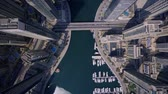 Large Futuristic Towers And Modern Skyscraper Building In Urban Dubai City Stock Footage