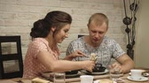 young couple in love man and woman have breakfast at home Vídeos