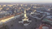 frankivsk : Aerial view of Ratusha in Ivano-Frankivsk, Ukraine, main benchmark of city Stock Footage