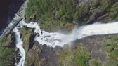 rapid : Latefossen - rapid waterfall in Norway. Aerial view, summer time.