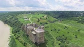 riverside : Aerial Shot. Old castle near the RIver. Hotin Castle in Ukraine. Eastern Europe