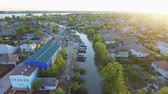 danube delta : Aerial footage of Vilkovo city center - top view of church in summer, Odessa region, Ukraine Stock Footage