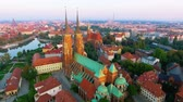 riverbank : Aerial: Cathedral Island in Wroclaw, Poland