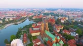 catholic church : Aerial footage of Wroclaw, European Capital of Culture. Center Stock Footage