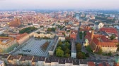 çatılar : Aerial footage of Wroclaw, European Capital of Culture. Center Stok Video