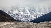 cross : View of snowcapped rock mountains in Nepal Stock Footage