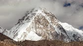 fright : View of snowcapped rock mountains in Nepal Stock Footage