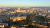 view of Rome skyline cityscape with Vatican City landmark at sunrise in Italy