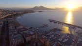 Aerial view of the Gulf of Naples with the Castel dellOvo on, Italy Vídeos