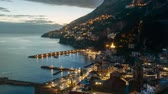 Night timelapse of Amalfi in Amalfi Coast, Italy