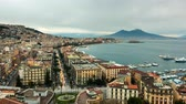 Naples skyline, port and Vesuvius volcano view, time-lapse. Vídeos