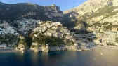 luxus hotel : View of Positano village along Amalfi Coast in Italy Stock Footage
