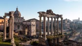 歴史的価値のある : Roman Forum. Vast excavated area of Roman temples. timelapse