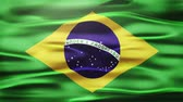 demokratický : Realistic Seamless Loop Flag of Brazil Waving In The Wind With Highly Detailed Fabric Texture.