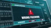 pirataria : Wrong Password Warning System Security Alert error message Computer Screen. Stock Footage