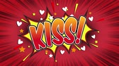 comics book : Kiss Word Retro Cartoon Comic Bubbles Popup Style Expressions Colored Bomb and Smoke Strip Dotted and red Speed Radial line Seamless loop Animation black  green screen 4k doodle background.